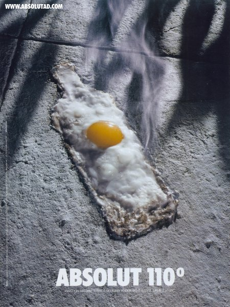 Eggs cooking on the hot pavement.