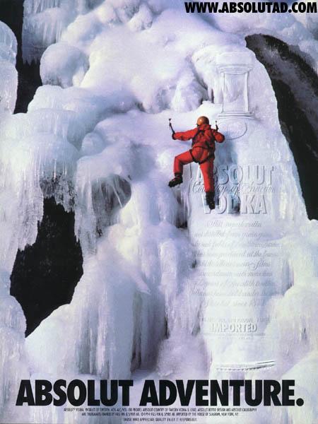 Guy ice climbing