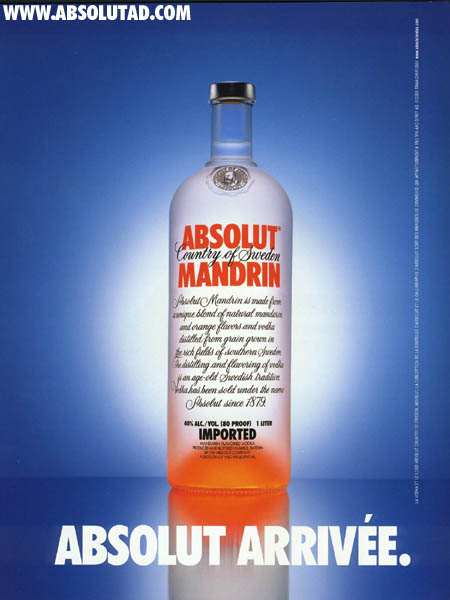 Standard Mandrin bottle on blue background.