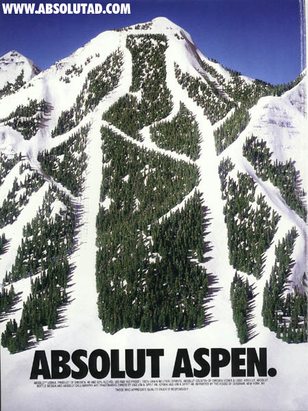 Same as Absolut Peak.  Aerial view of a ski slope.