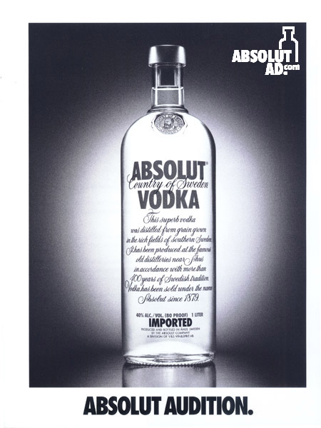 Resume for Absolut on cardstock paper.