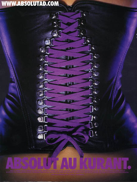 Corset that has purple laces that lace up in the shape of a bottle.