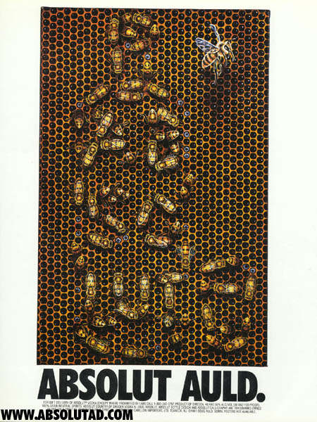 Artwork that shows a beehive with bees formed into the shape of a bottle.