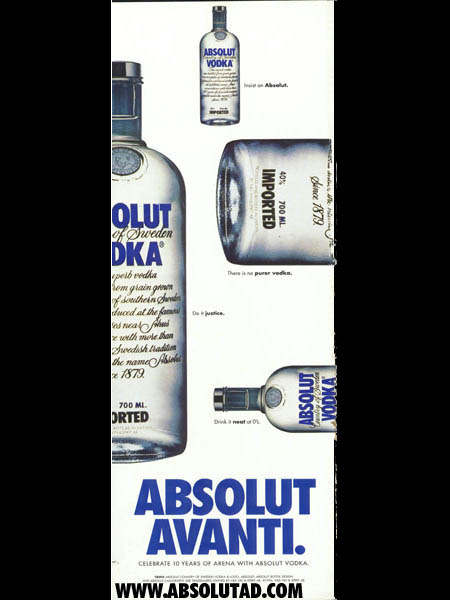 Bottles pointing in different directions.  Ad is 1/2 page size.