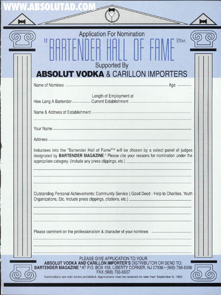 Application to nominate a bartender to the