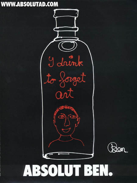 White outline of bottle on black background.  Red writing inside bottle.