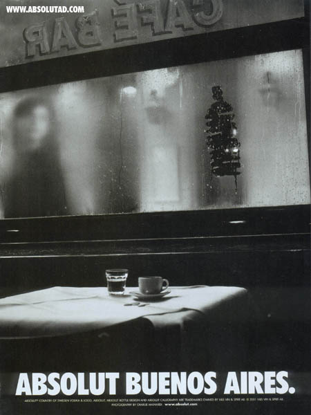 Caf� bar with bottle on foggy window