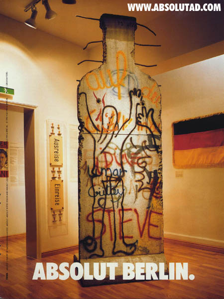 Piece of what used to be the Berlin wall in the shape of a bottle.