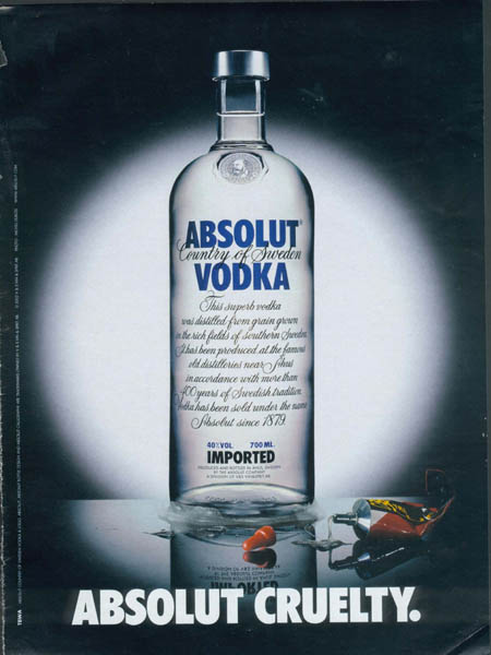 Absolut bottle glued to the table.