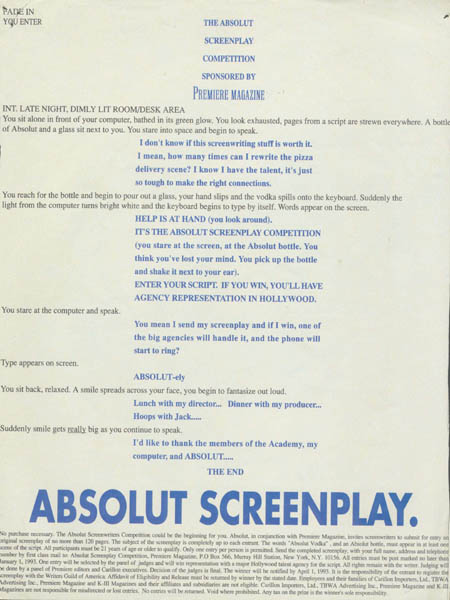 Premiere Magazine Screenplay competition.