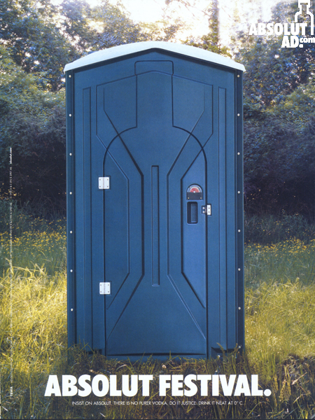 Blue porta-potty.