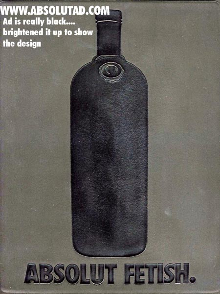 Rubber ad with Absolut bottle.