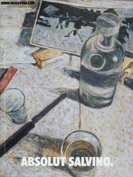 Painting of table with Bottle and glasses.