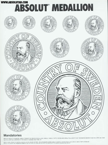 Different size prints of the absolut medallion