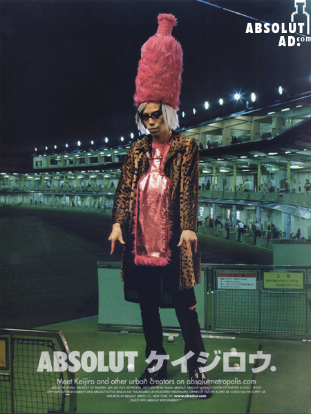 Woman with pink Absolut shaped hat