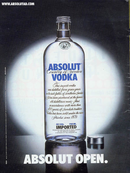 Absolut bottle with top off. Like aromatherapy.