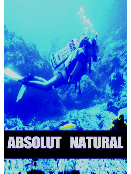 A Diver with  an oxygen absolut baloon underwater