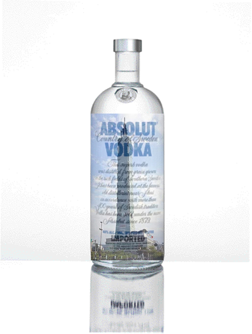 Absolut Vodka is always the highest building all over the world.