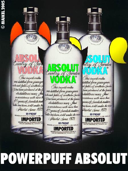 Three ABSOLUT bottles as Powerpuff Girls