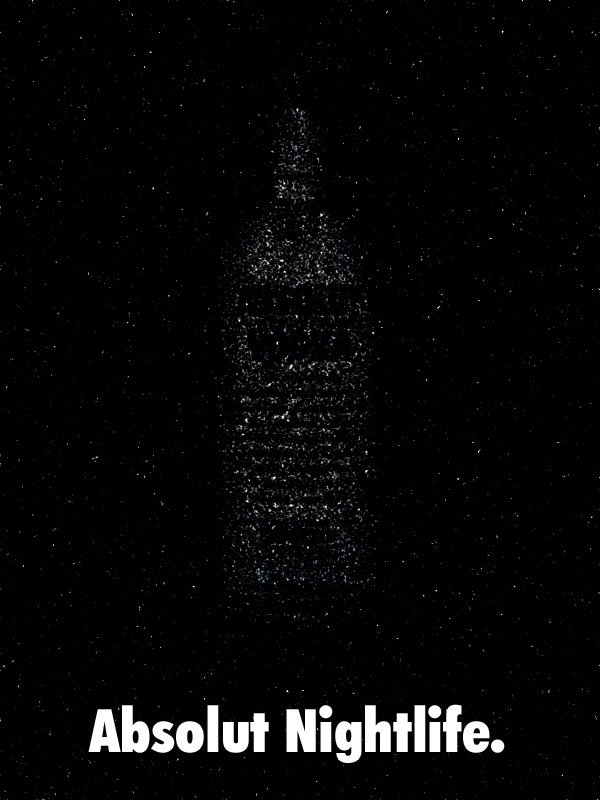 Absolut Nightlife shows the Absolut bottle formed in the stars.