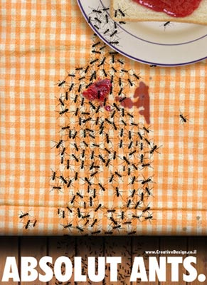 Ants enjoying themselves at a picnic table. Ad by Creative Design.