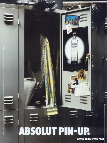 Absolut ad inside a locker