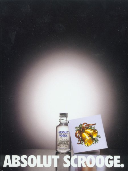 Small Absolut bottle with gift tag