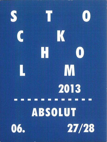 Created by Liane Cavell and Michelle Chumash for the 2013 Absolut Collectors meetup in Stockholm, Sweden.