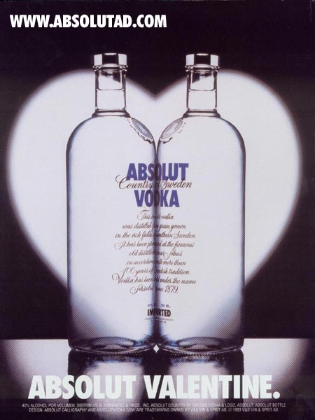 Two perfect bottles, face to face in a lovers embrace, surrounded by a heart-shaped halo!
