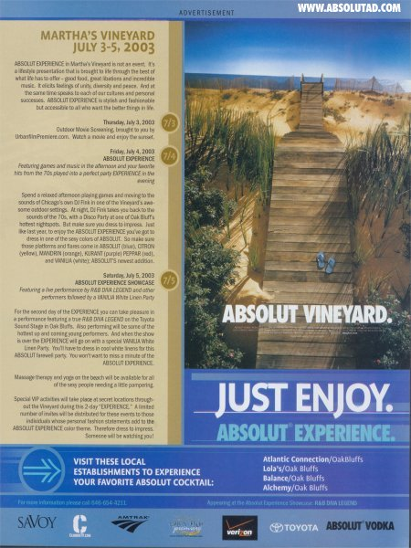 Ad for weekend happening at martha's vineyard.