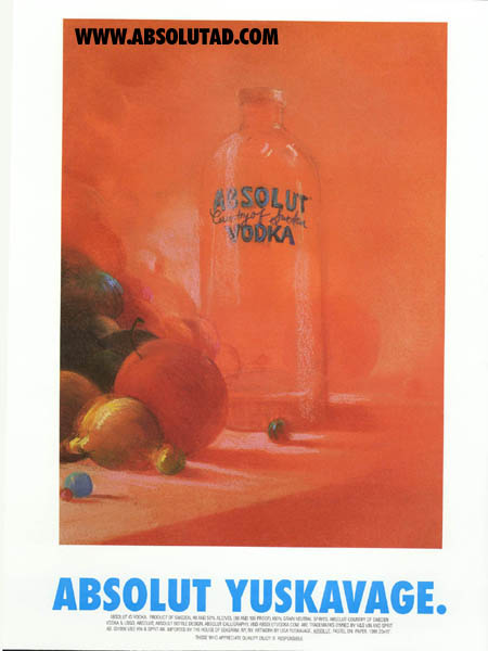 orange painting with fruit and bottle